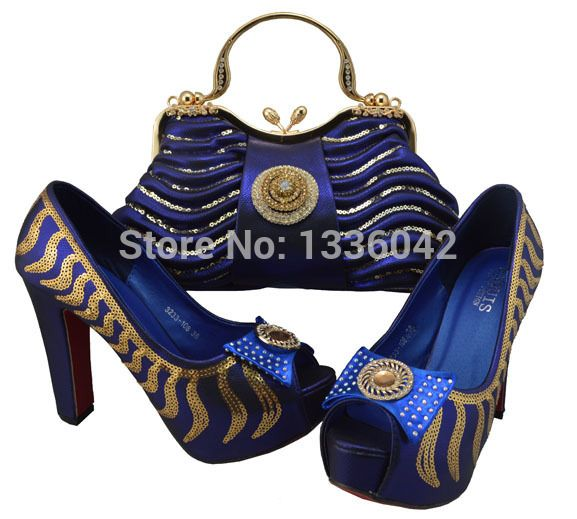 Amazing High Heel Shoes With Bags Set For Party And Wedding Italy Design Bag
