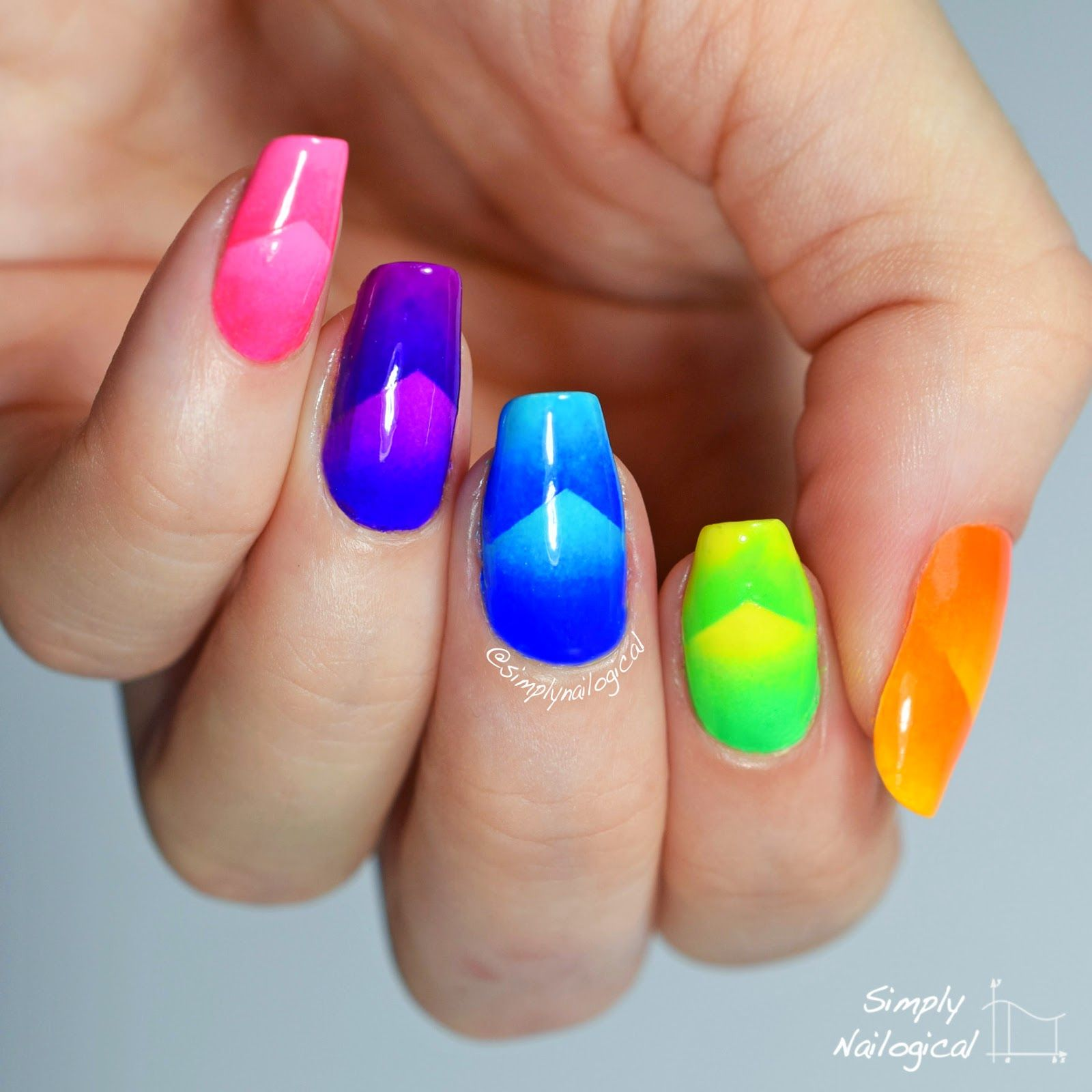 Neon chevron scaled gradient skittle nail art by