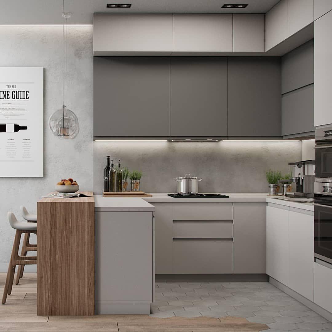 Stylish Grey Modern Kitchen Installation: Ну что сказать, ну нраицца нам серый 😛 Квартира в Москве 59 кв.м.👌 Бруски от @brus_decor Не