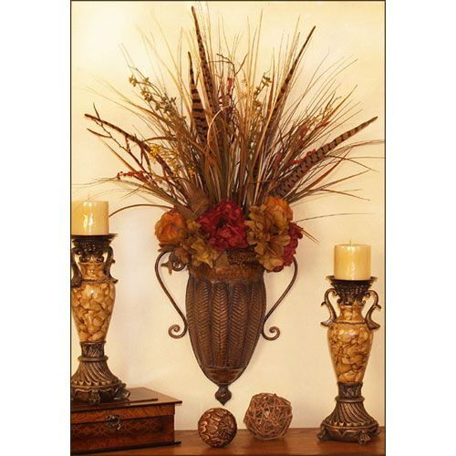Hydrangea And Natural Botanical Silk Flower Wall Sconce ... on Decorative Wall Sconces For Flowers Arrangements id=22420
