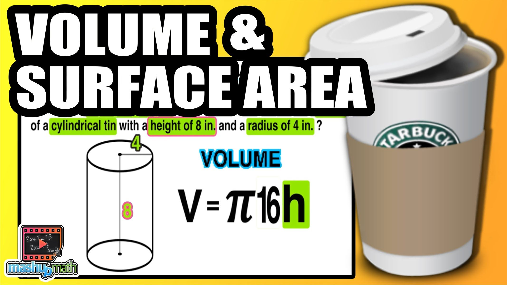 Learn to find the volume surface area of a cylinder