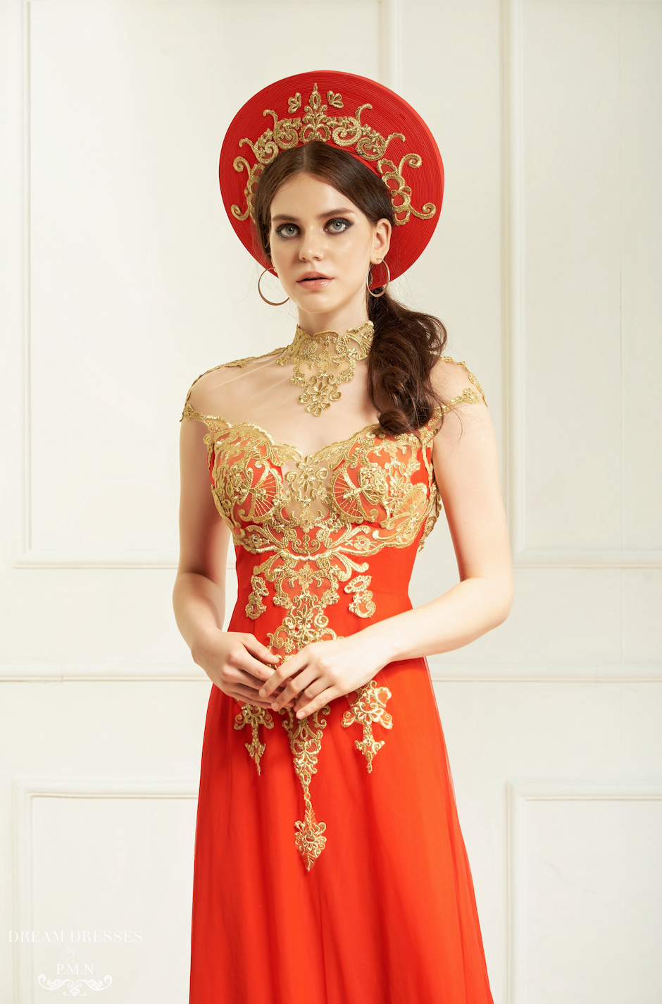 Red Ao Dai with Gold Lace Vietnamese Bridal Dress (