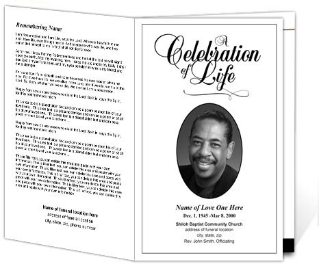 Classic Funeral Program Template | Memorial Service Bulletin Templates  Celebration Of Life Templates