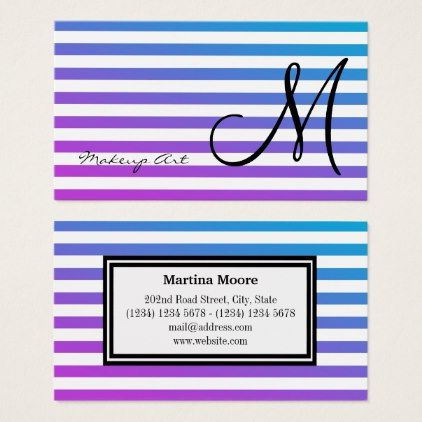 #makeupartist #businesscards - #Horizontal lines stripes pattern monogram business card
