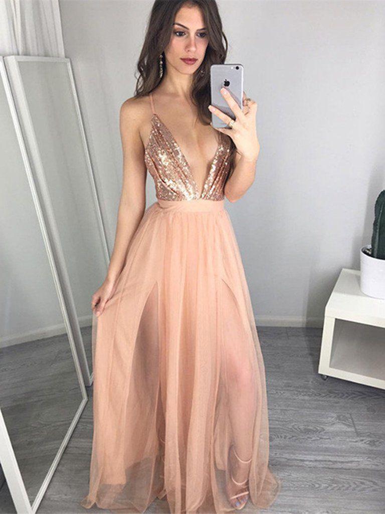 A Line V Neck Open Back Champagne Tulle Prom Dress ...