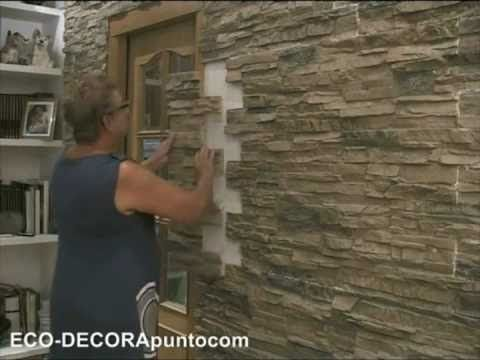 Montaje de paneles imitación piedra ECO-DECORA en paredes interiores ...