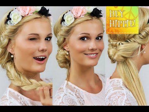 Festival Frisuren Mit Blumen Haarband Mittellange Haare