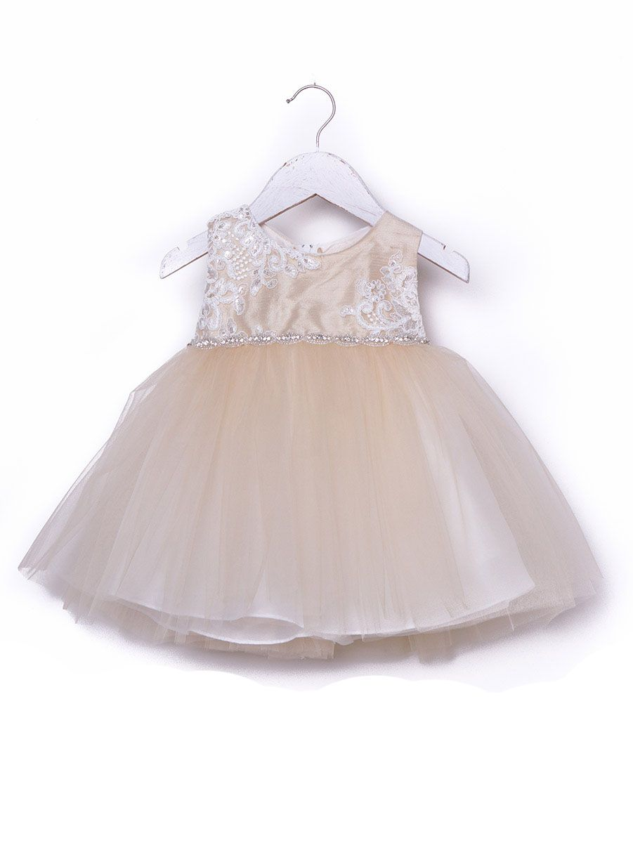 b539843f1d Children s Clothing Stores · Petite Adele Raw Silk Top w Two Tone Tulle  Skirt-Champagne