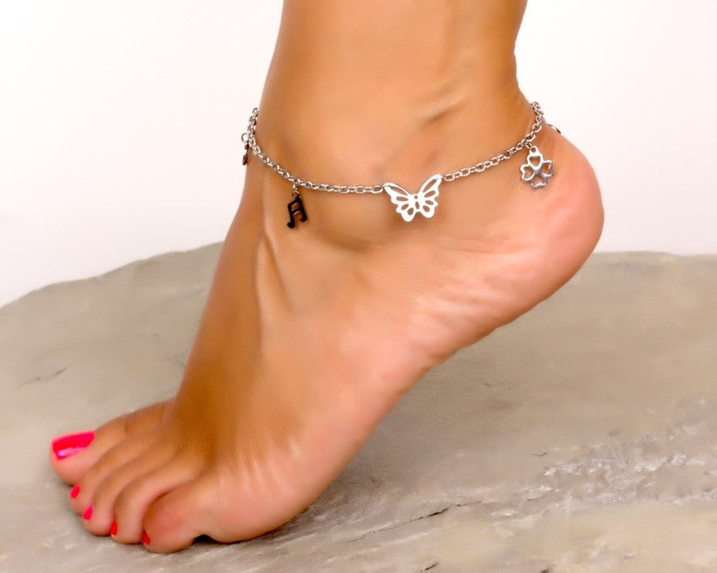 Anklets In Silver / Love Ankle Bracelets / Butterfly Anklet / Four Leaf Clover Bracelet / Silver Ankle Bracelet / Ankle Bracelets Silver   Jassion