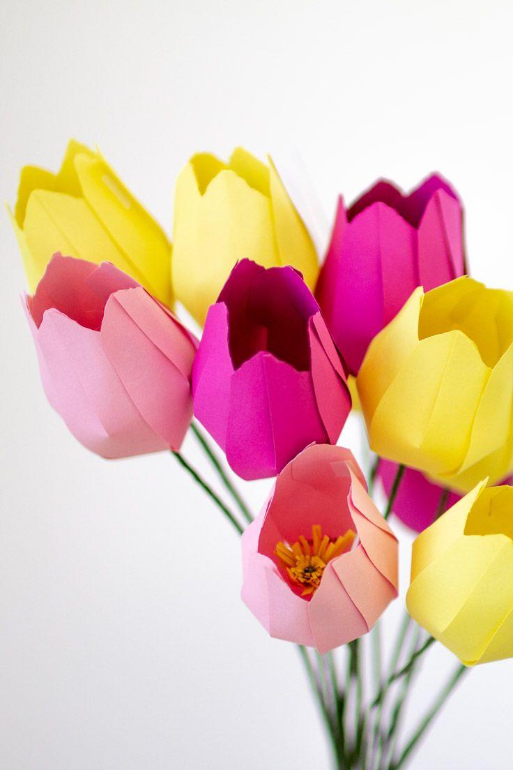Papier Blumen basteln: Einfache Tulpen (mit Vorlage) #giantpaperflowers