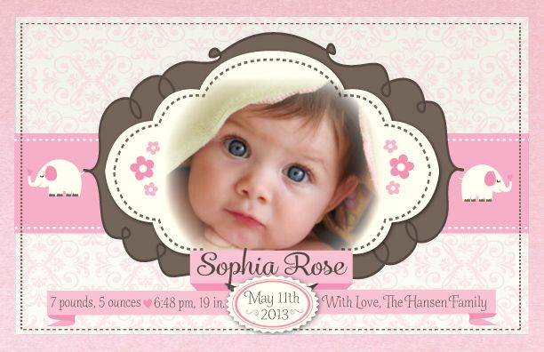 How precious will your little princess look framed in this adorable vintage pink elephant birth announcement design? Show off your beautiful new baby with this gorgeous pink birth announcement. www.delightinvite.com