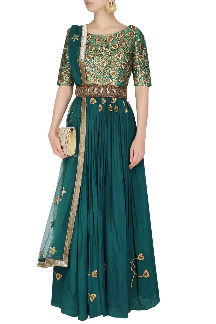 Bottle green embroidered floor length suit with green churidaar pants available only at Pernia's Pop Up Shop.