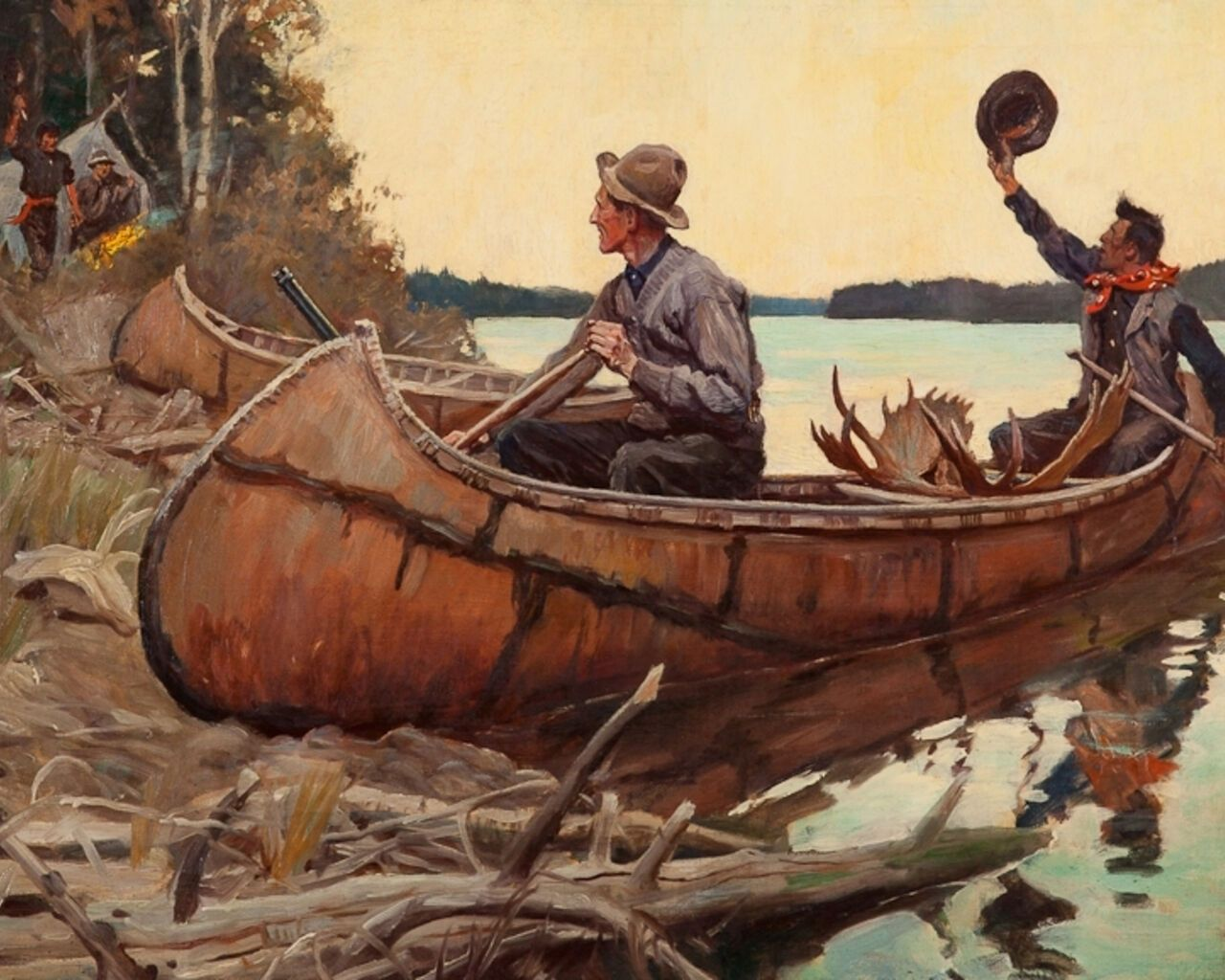Photo of Hunting In Forest Near River Canoe Kayak Camping Painting Real Canvas Art Print  | eBay