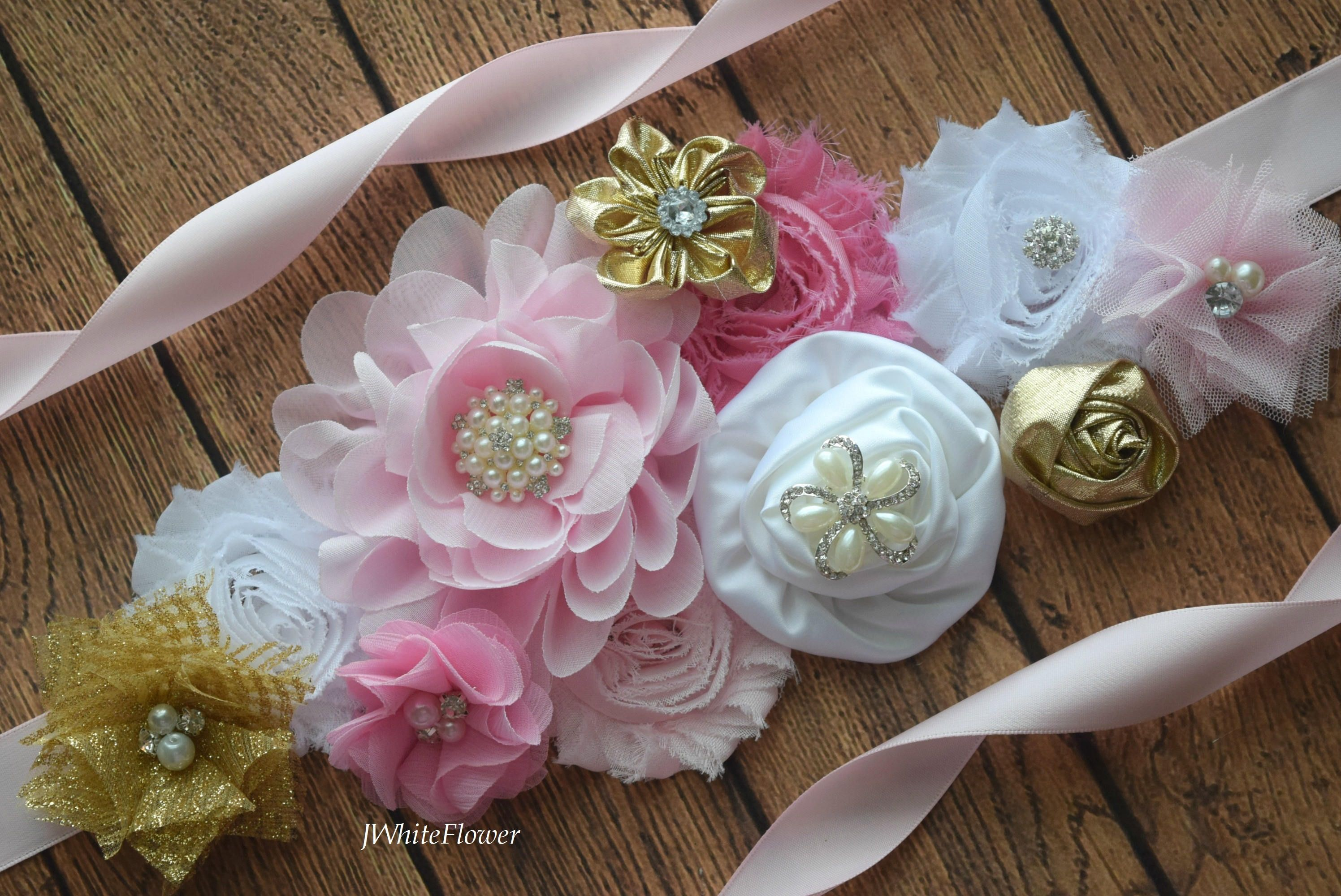 Flower Sash Pink Gold And White Sash Flower Belt Maternity Sash