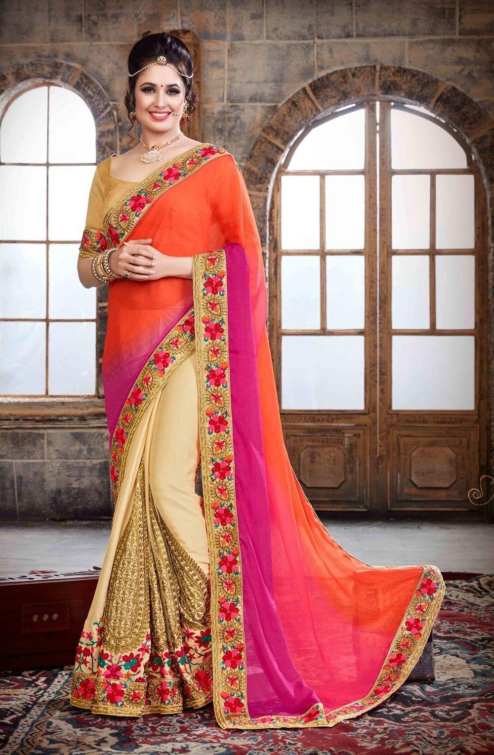 partywear sari store online   wedding sarees   Pinterest