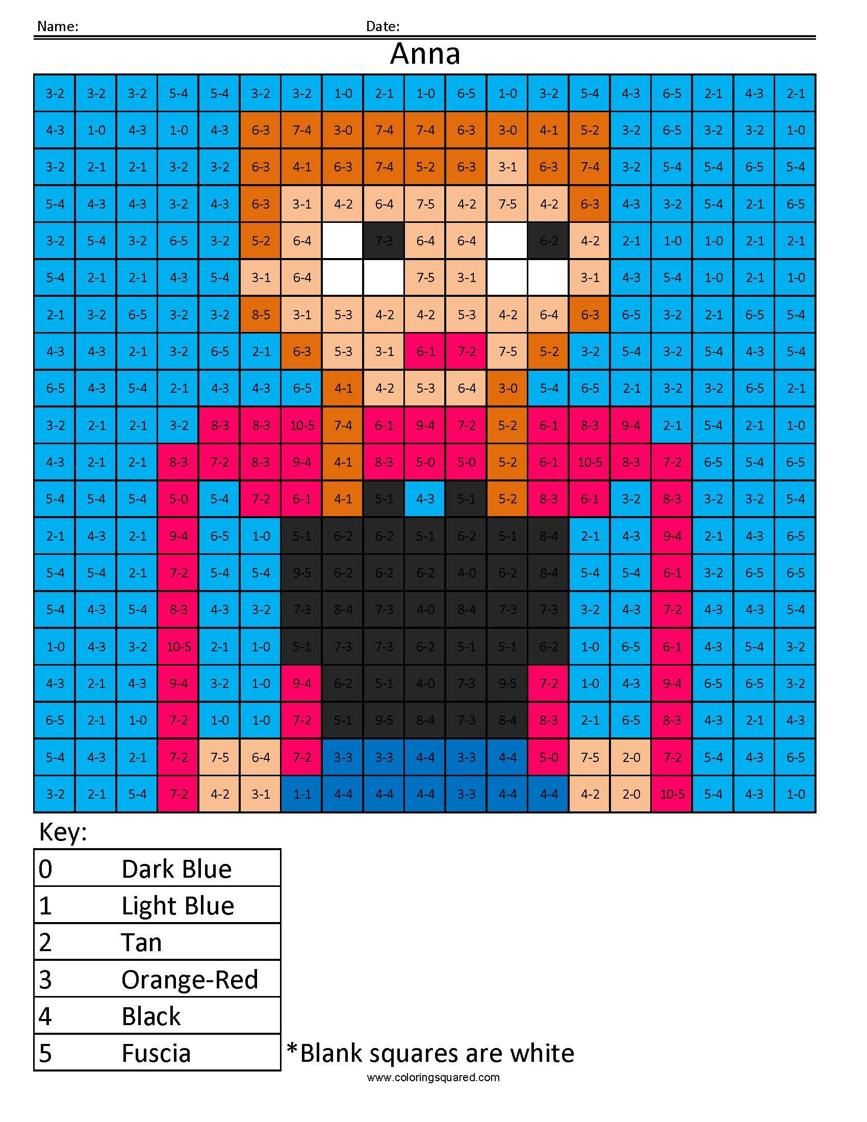 Coloring pages for double digit subtraction - Anna From Frozen Disney Princess Addition And Subtraction Coloring Page
