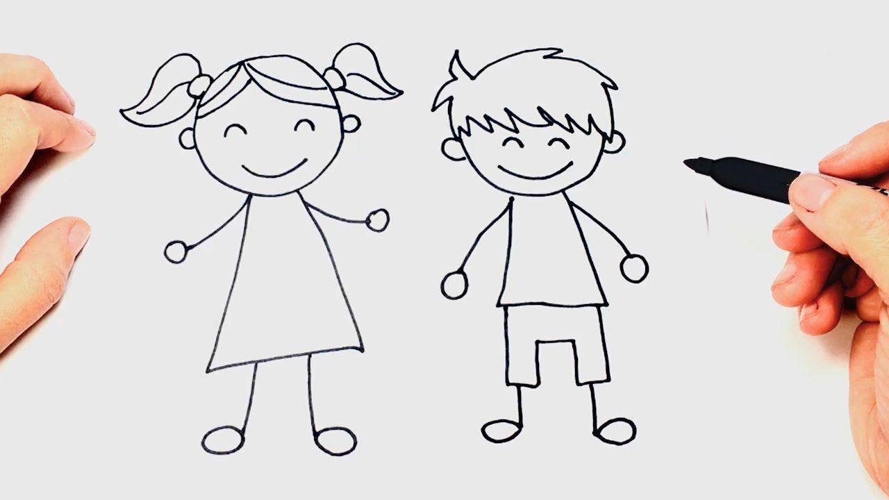 Como Dibujar Un Ninos Paso A Paso Dibujo Facil De Ninos Como Dibujar Ninos Baby Showers Divertidos Actividades Para Baby Shower