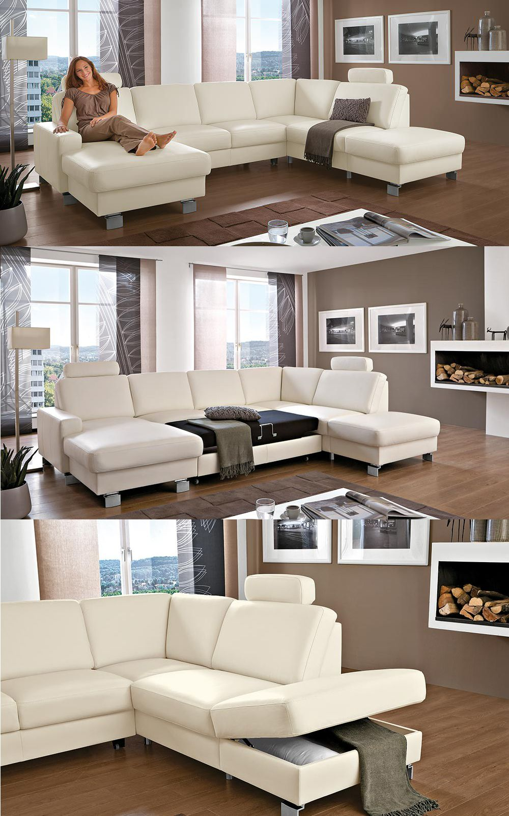Weisses Ledersofa Bellini Die Hochwertige Wohnlandschaft Besticht Mit Tollen Relaxfunktione Corner Sofa Design Living Room Sofa Design Modern Sofa Living Room