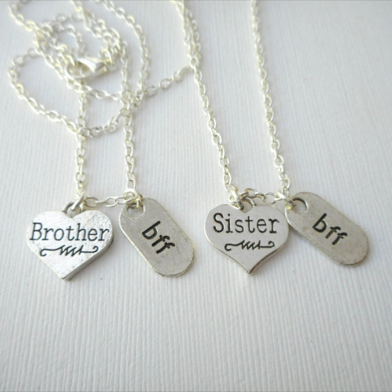 2 brother sister bff necklaces brother and sister