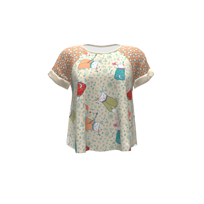 Hey June Handmade Santa Fe Top made with Spoonflower designs on Sprout Patterns. Kimono Kitties by designed_by_debby, Floral Geometric by mariafaithgarcia.