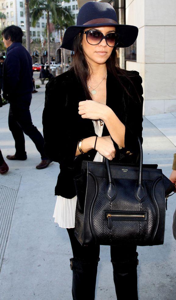 Street Snaps: Kourtney Kardashian with Celine Luggage Tote in ...