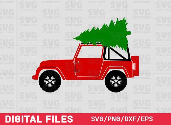 Christmas Jeep.Jeep With Christmas Tree Svg Christmas Truck Svg