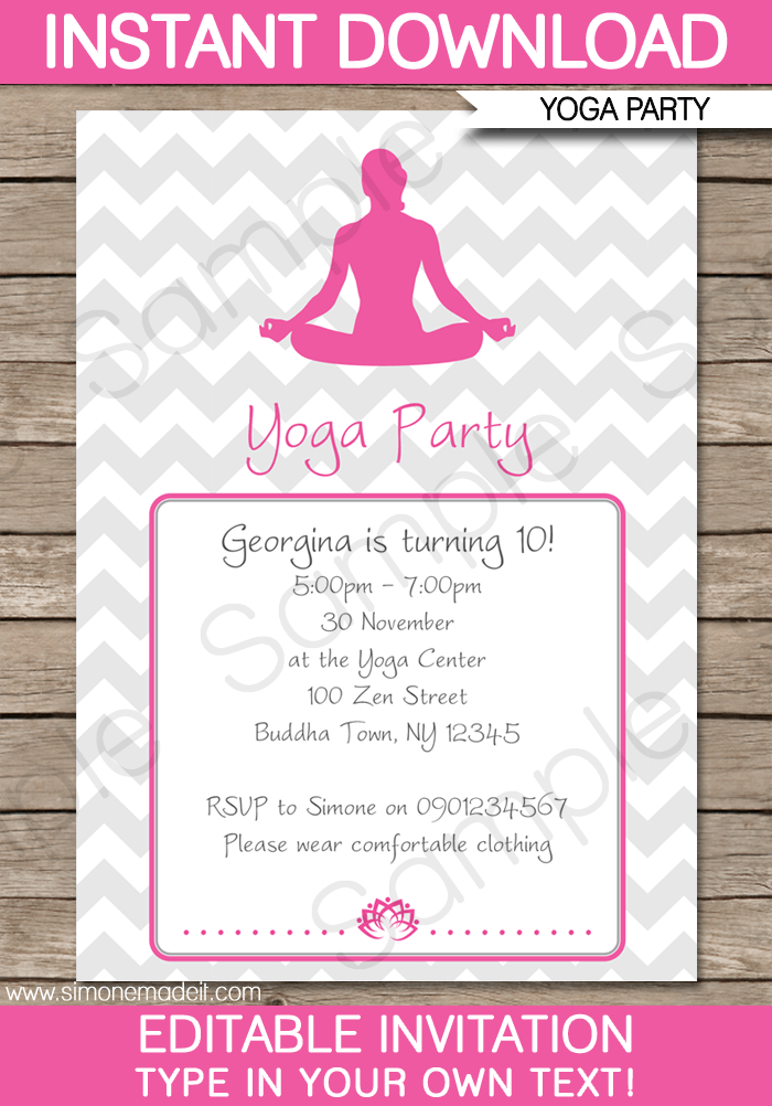 Yoga Party Invitations Template