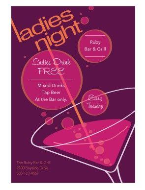 Ladies Night Flyer Nightclub Menus Happy Hour Event Poster Design Ladies Night