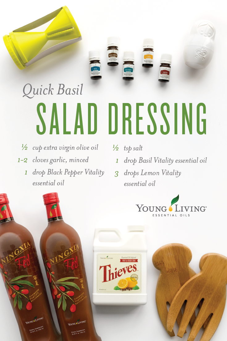 Young Living Essential Oils Quick Basil Salad Dressing