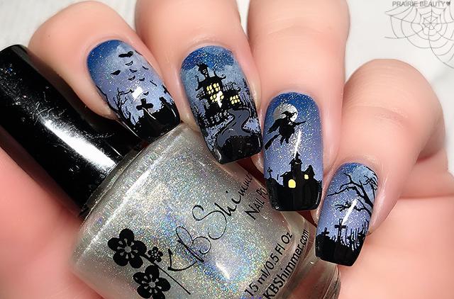 12 NAILS OF HALLOWEEN: Smoky Blue Haunted House Nail Art ...
