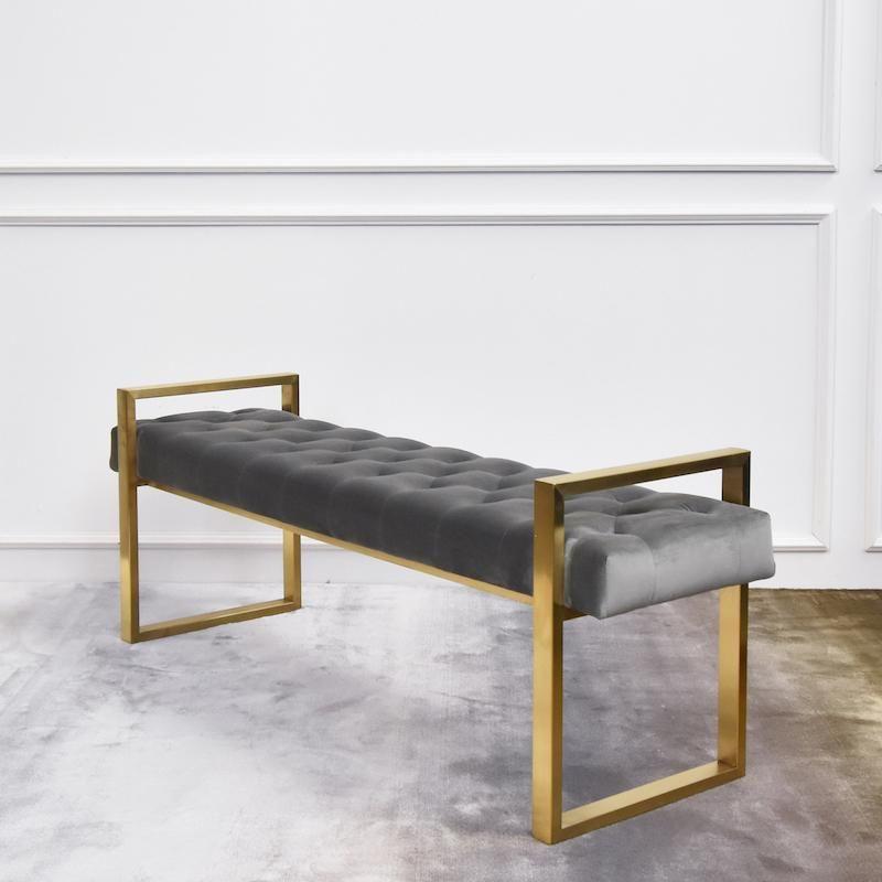 Lisse Gold Bench Tufted Grey Velvet In 2020 Living Room Bench Furniture Gold Bench