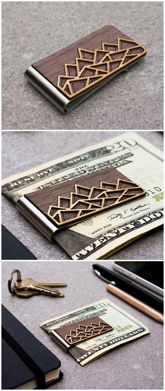 money clip, wood wallet, minimalist wallet, card holder, credit card holder, slim wallet, wooden money clip, graduation gift, boyfriend gift