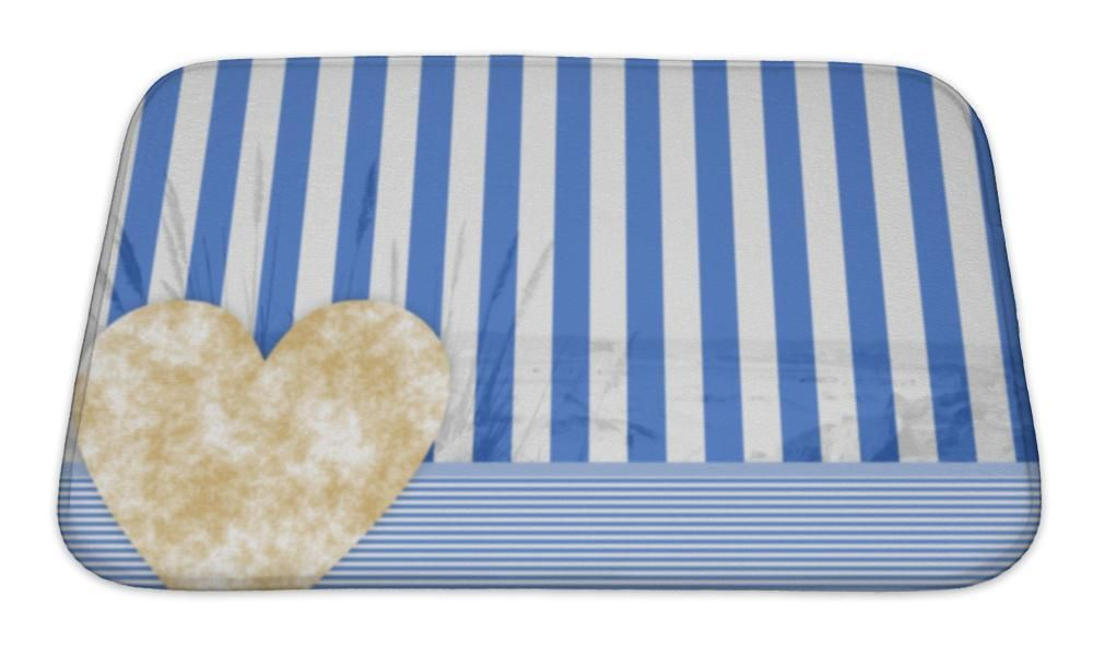 Bath Mat Blue White Stripe Pattern With A Stone Heart Products