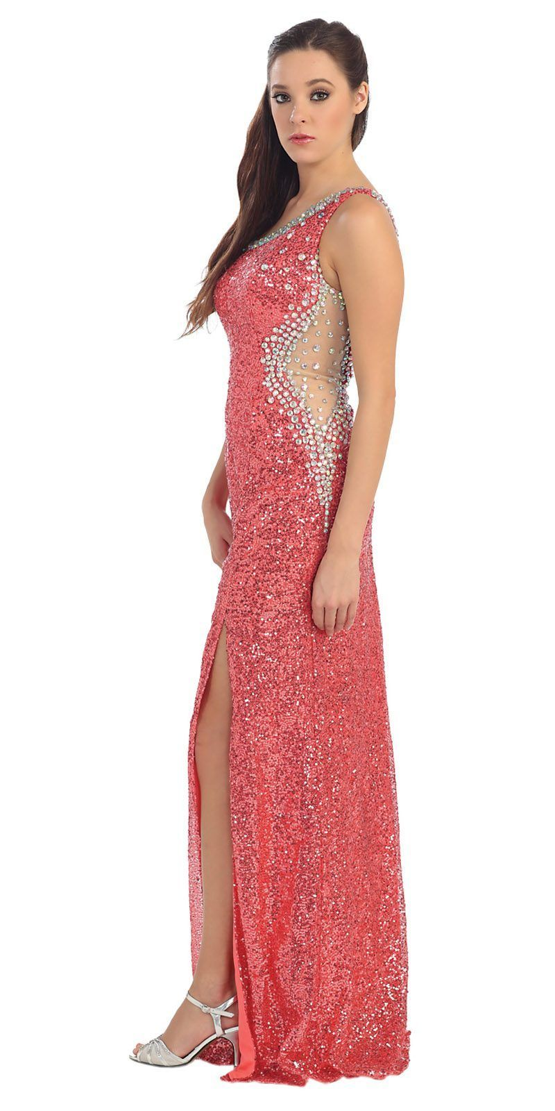 Clearance floor length coral sequins dress sexy see through side