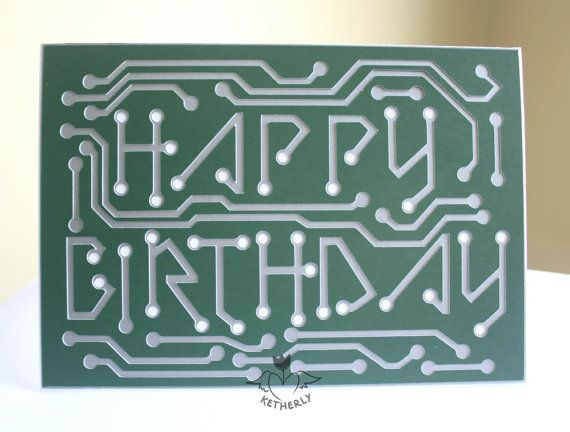 Happy Birthday Circuit Board 5x7 Card For Engineers By Binaryk