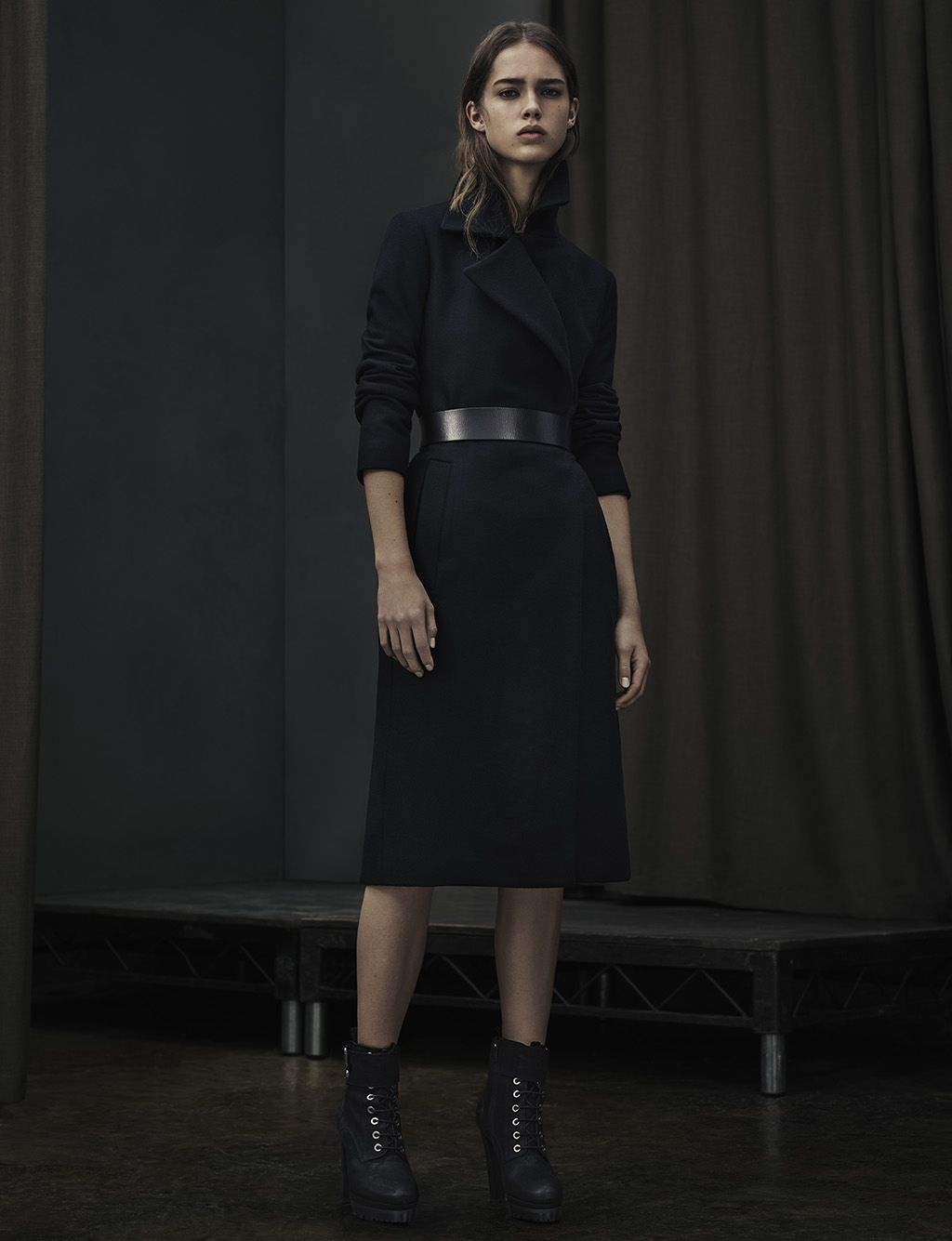 ALLSAINTS WOMEN'S LOOKBOOK NOVEMBER 2015 LOOK 3. The Iya Coat, Mimosa Belt and Balfour Boot.
