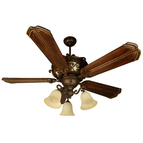 Toscana Peruvian Ceiling Fan with 56-Inch Custom Carved Chamberlain Walnut Blades and Light Kit