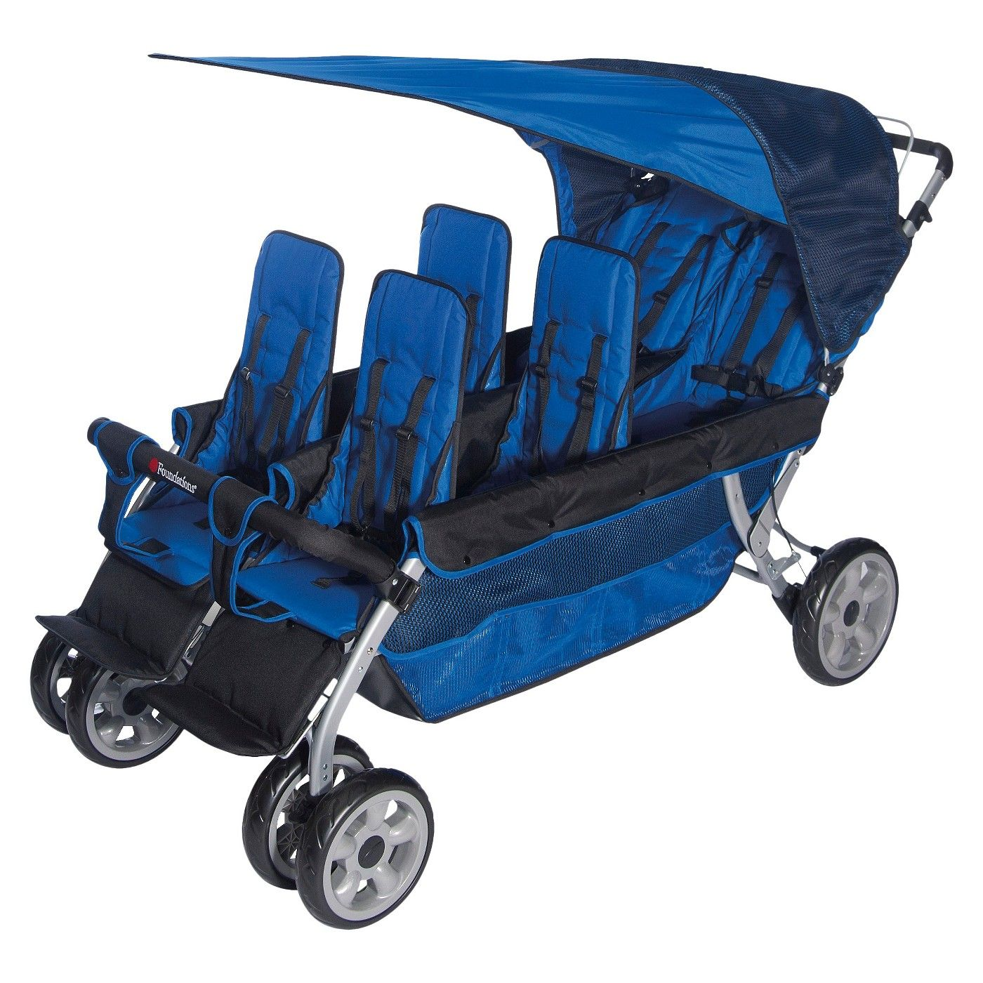 Foundations LX6 Six Passenger Stroller Blue Stroller