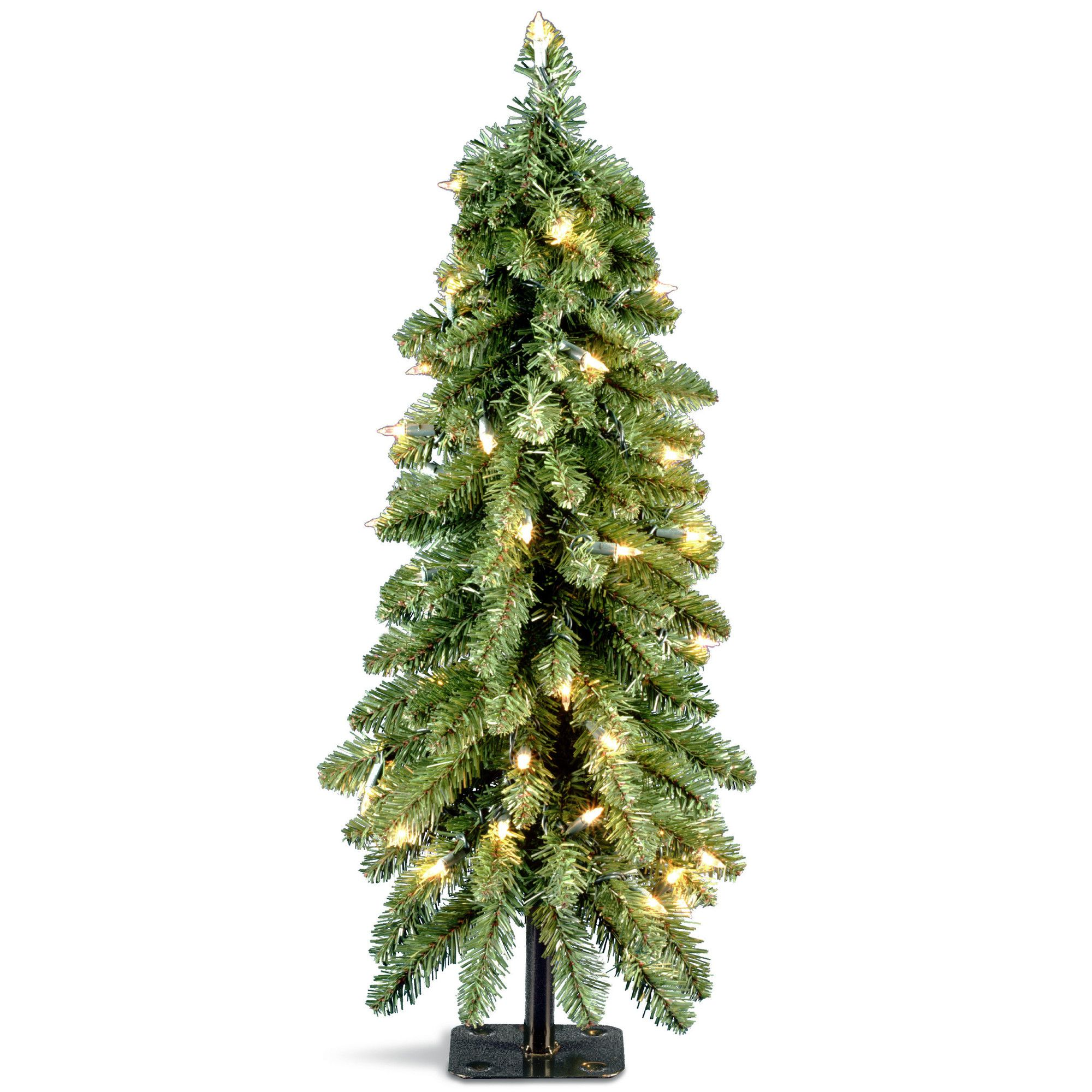 3\' Green Downswept Artificial Christmas Tree with 50 Colored & Clear ...