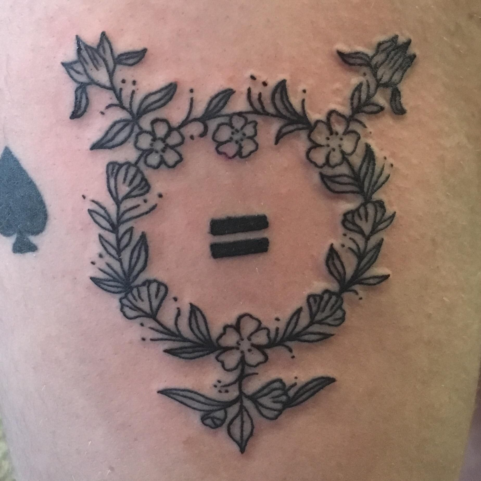Floral Transgender Symbol by Matt Wolf at Electric Hand Tattoo in Nashville