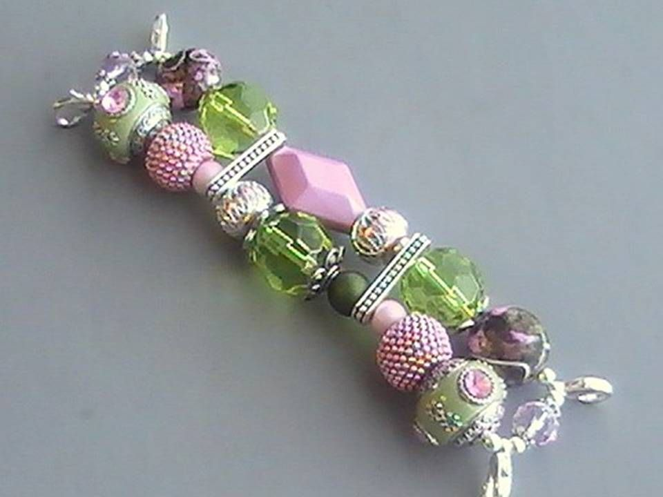 Green And Pink Beaded Watch Band Beaded Watches Bead Work