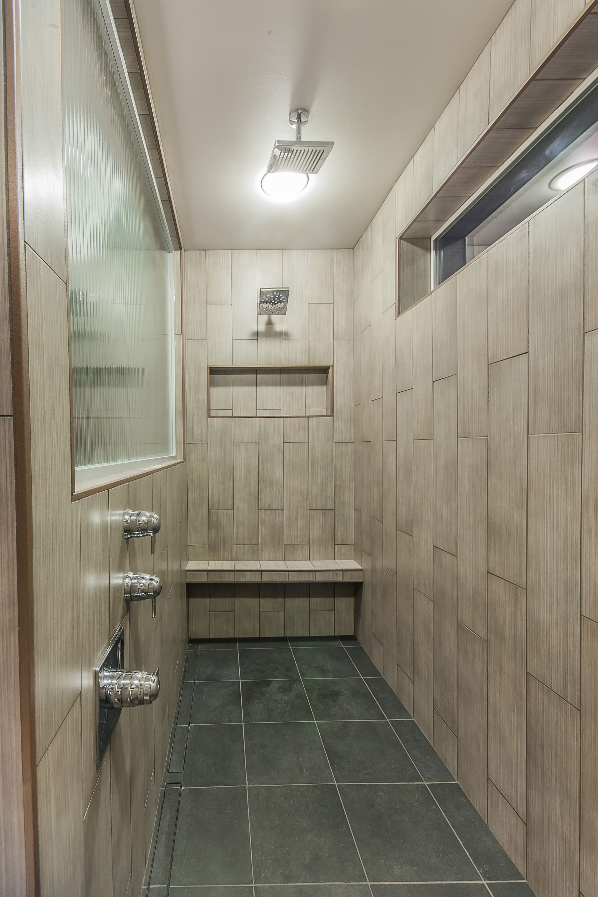 Vertical tile bathroom - 9 Long Shower 6x24 Vertical Tile Walls 12x24 Shower Pan With Schluter Linear Drain