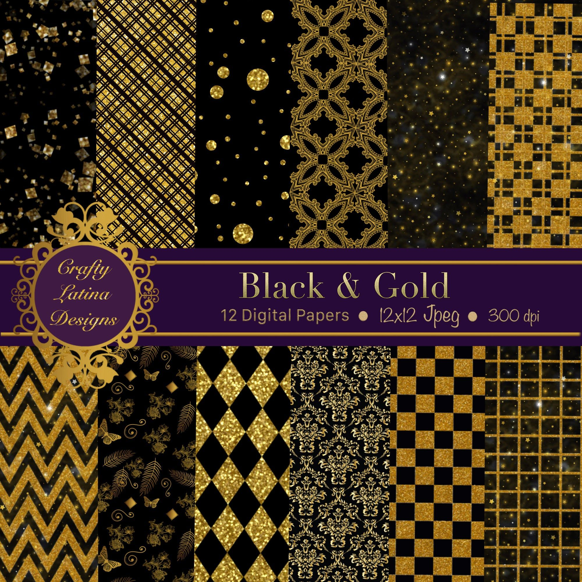 Download Gold Patterns Digital Paper Crafter Files