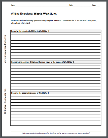 world war ii writing exercises sheet social studies world war ii writing exercises sheet 3