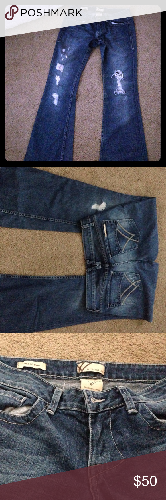 William rast  BELLE flare jeans 100% cotton, strong denim. No stretch. Like brand new, never worn out of the house. William Rast Jeans Flare & Wide Leg