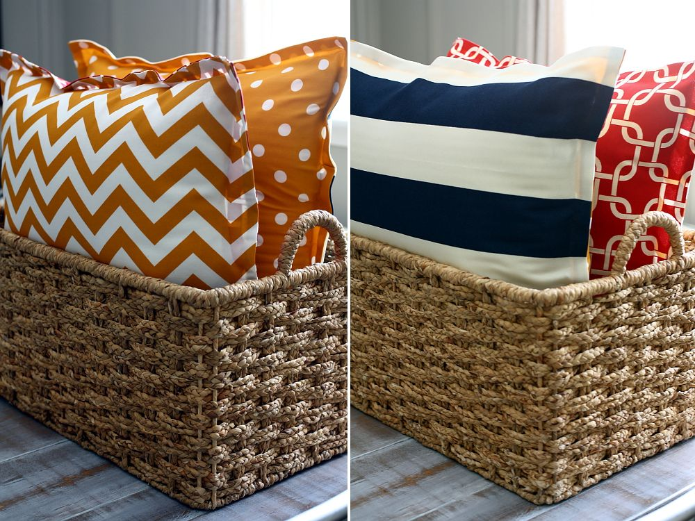 put floor pillows in baskets like this in mandir - find grey or ...