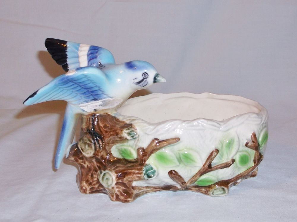 Vintage Porcelain Bluebird on Stump w/ Nest Candy Dish Bowl Planter
