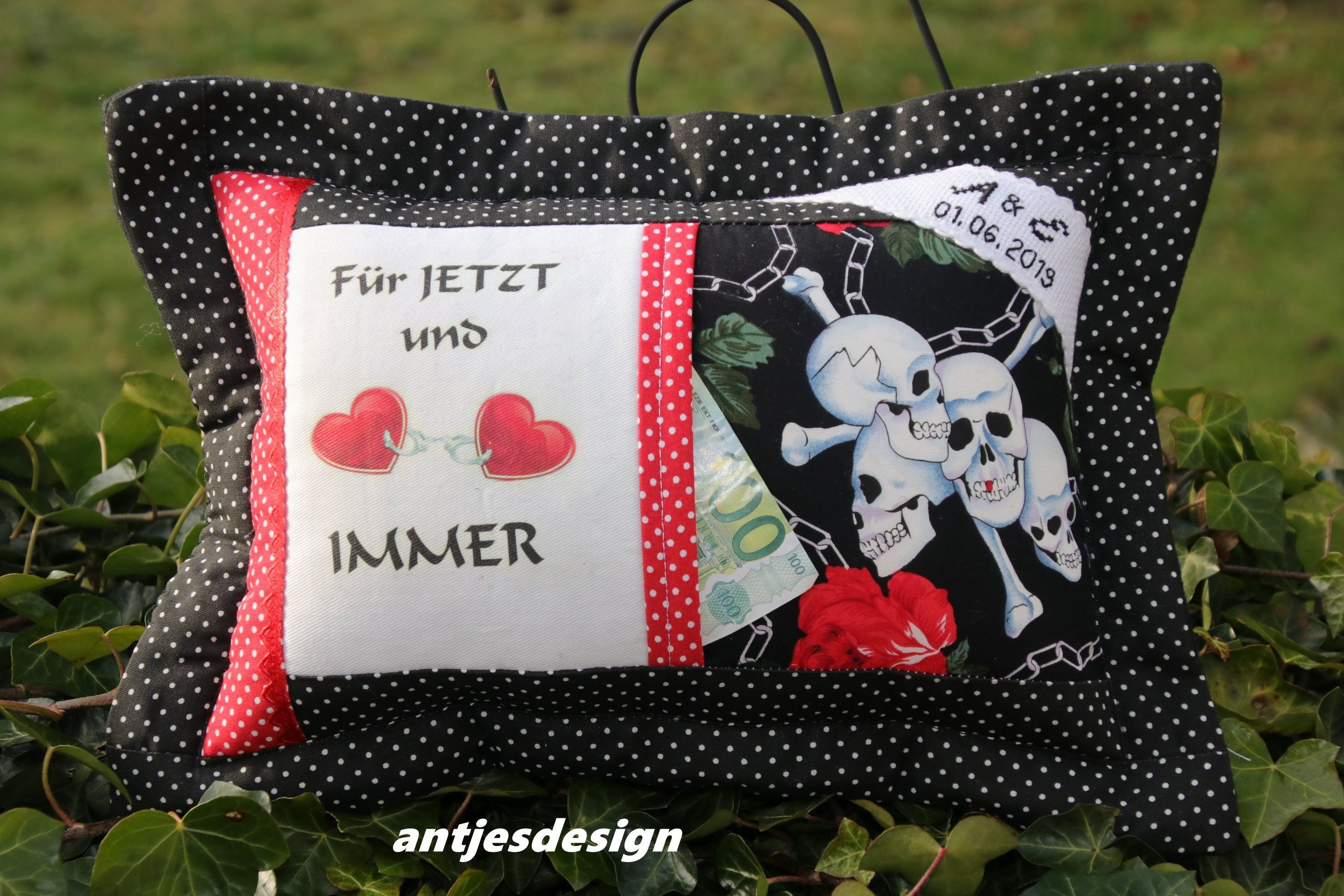 Gothic Wedding Gift Pillow With Name Skulls Skull Skull