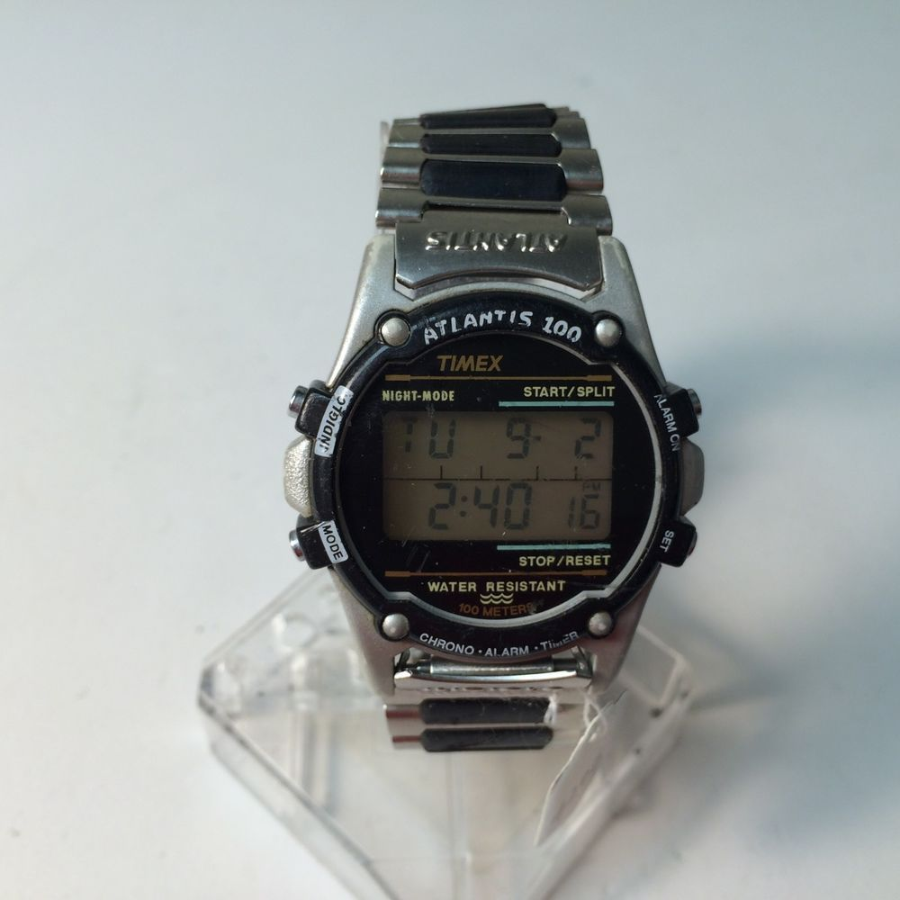 d35803d491e Vintage Timex Atlantis 100 Mens Diver LCD Chrono Watch Hours Clock~New  Battery  Timex  LuxuryDressStyles