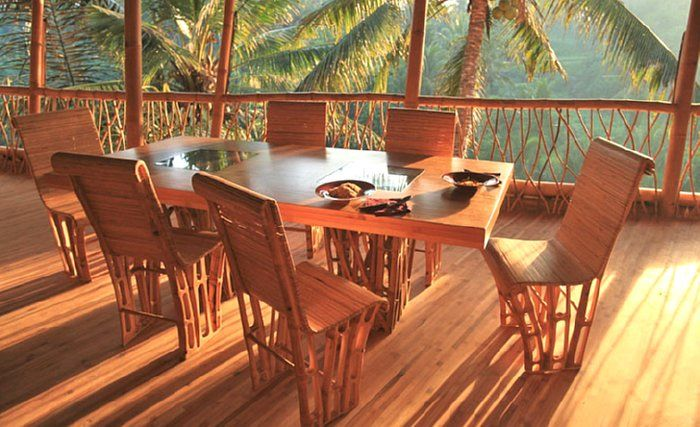 Bamboo Dining Set At Green Village, Indonesia